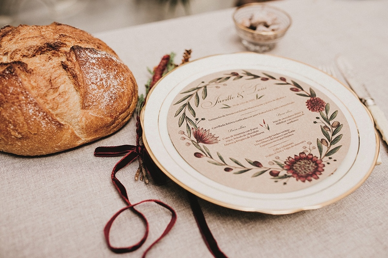papelería bonita para bodas de otoño