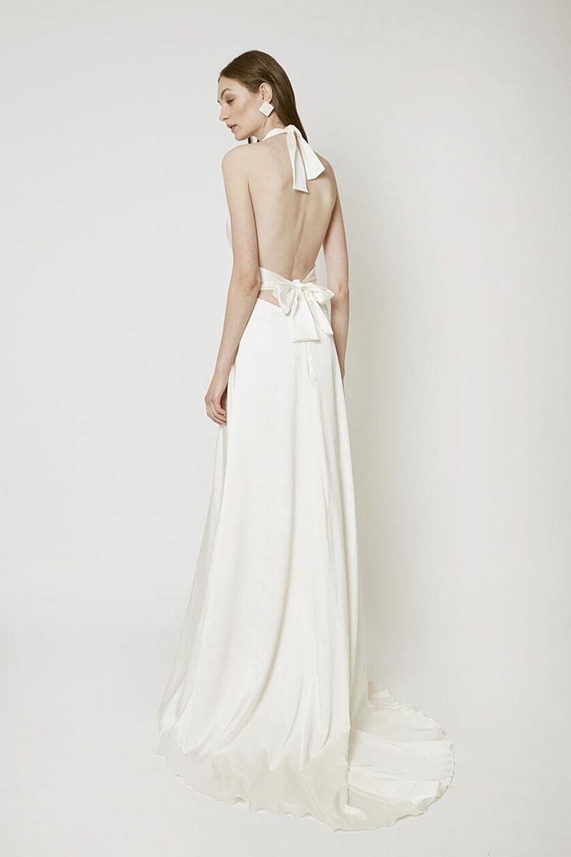 Vestido de novia con espalda anudada