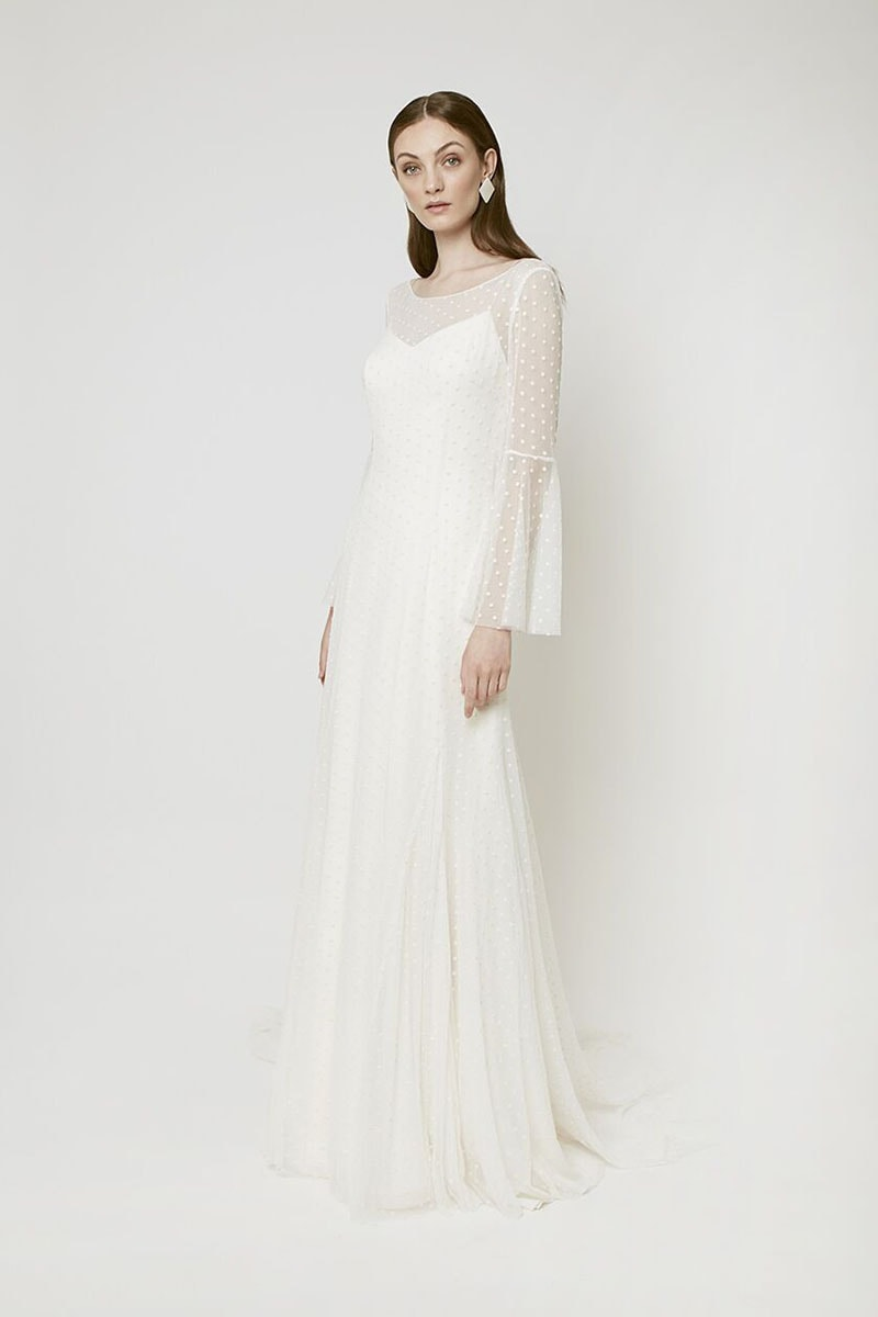 Vestido de novia con plumetti