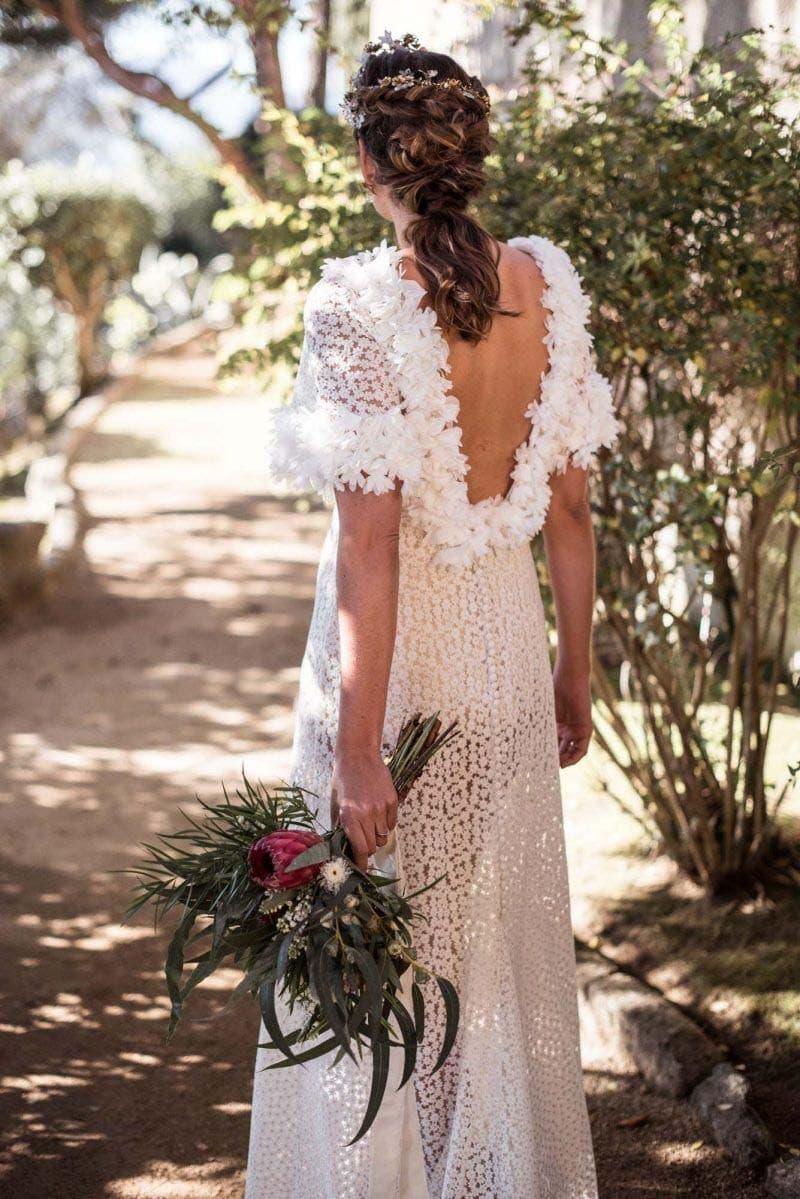 ramo de novia con protea y eucaliptos