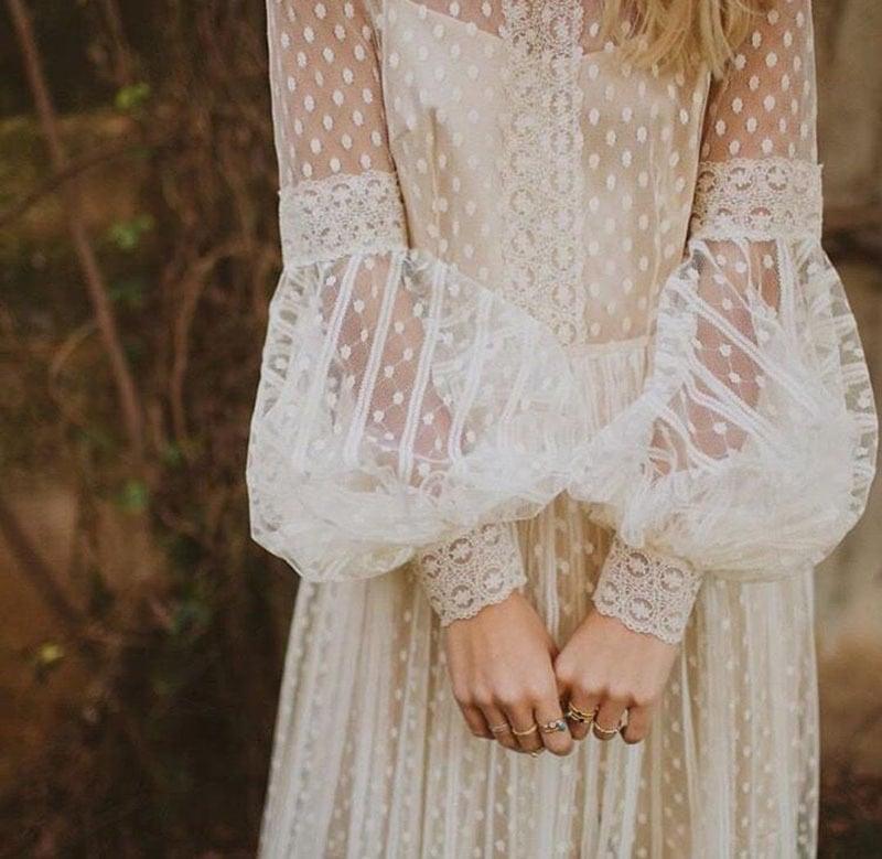 vestido de novia con manga abullonada