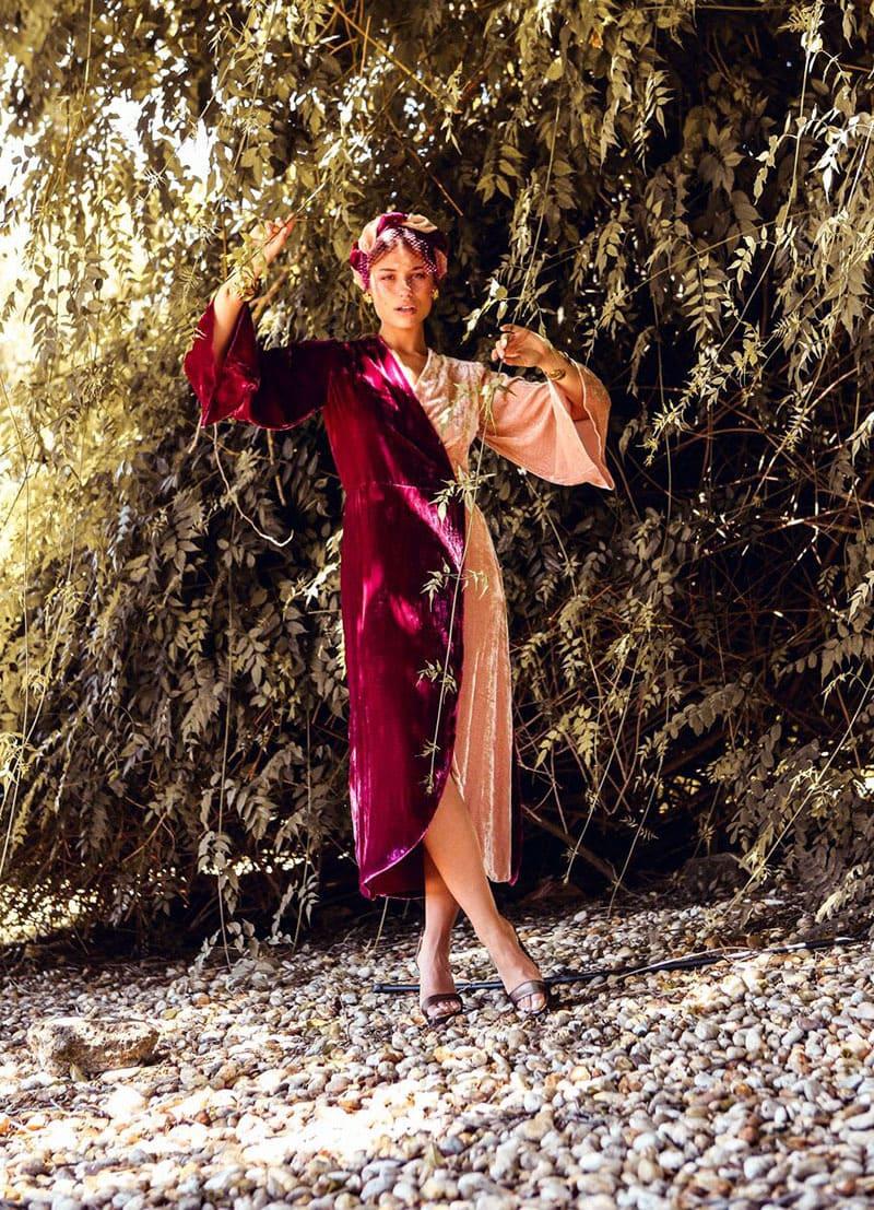 La invitada ideal, vestido cruzado bicolor